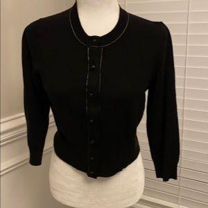 Ann Taylor Cardigan w/ Faux Leather Buttons & Trim